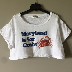 WILDFOX White Cropped Tee Maryland is For Crabs M
